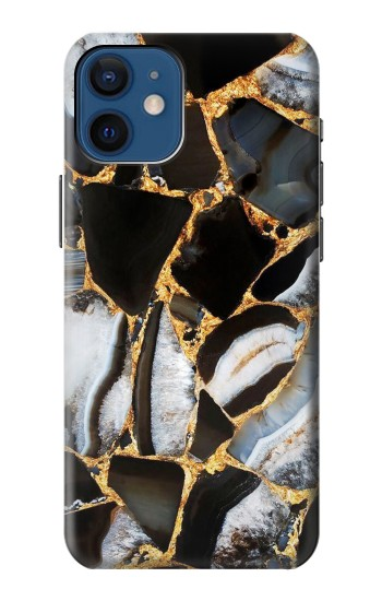 Printed Gold Marble Graphic Print iPhone 12 mini Case