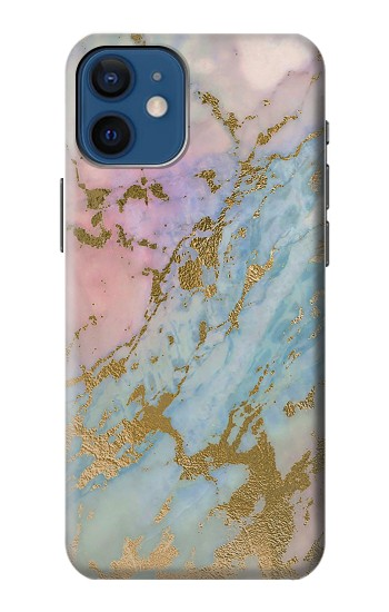 Printed Rose Gold Blue Pastel Marble Graphic Printed iPhone 12 mini Case