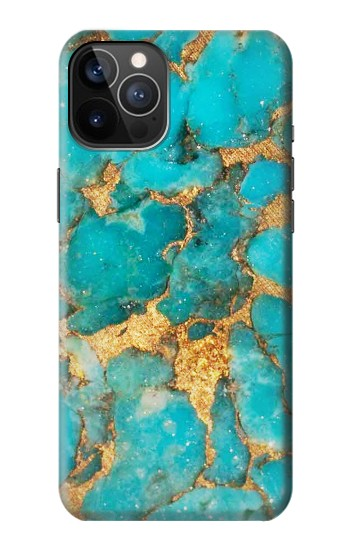 Printed Aqua Turquoise Stone iPhone 12 Pro Case