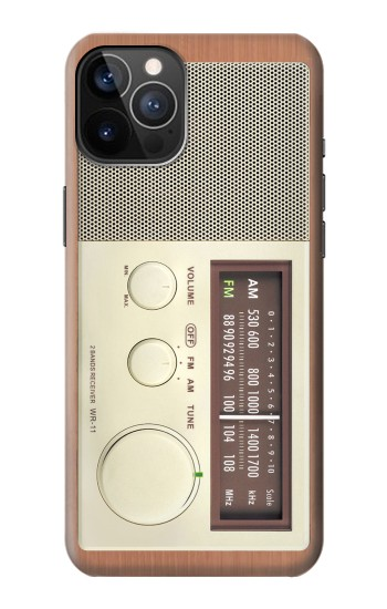 Printed FM AM Wooden Receiver Graphic iPhone 12 Pro Case