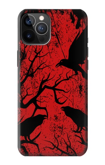 Printed Crow Black Tree iPhone 12 Pro Case
