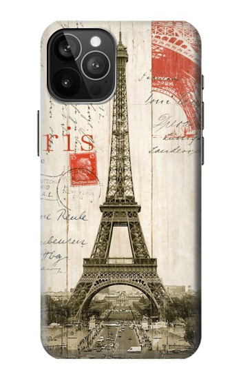 Printed Eiffel Tower Paris Postcard iPhone 12 Pro Max Case