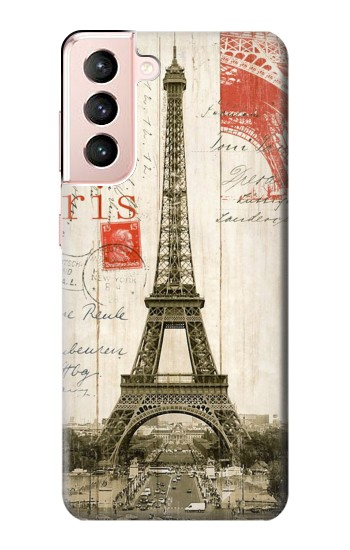 Printed Eiffel Tower Paris Postcard Samsung Galaxy S21 5G Case