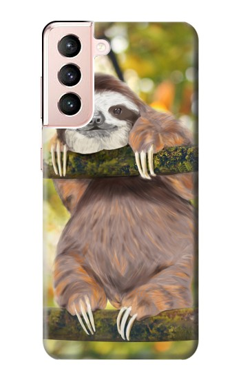 Printed Cute Baby Sloth Paint Samsung Galaxy S21 5G Case