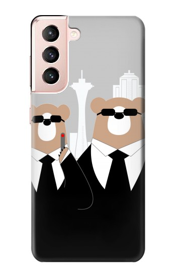 Printed Bear in Black Suit Samsung Galaxy S21 5G Case