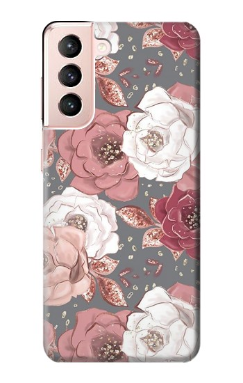 Printed Rose Floral Pattern Samsung Galaxy S21 5G Case