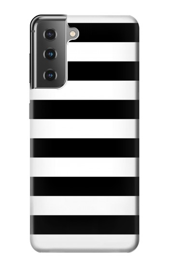 Printed Black and White Striped Samsung Galaxy S21+ 5G Case