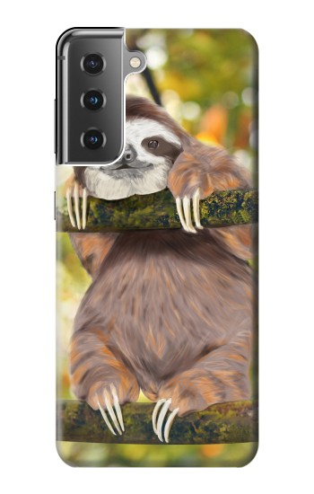 Printed Cute Baby Sloth Paint Samsung Galaxy S21+ 5G Case