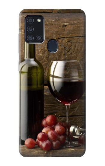 Printed Grapes Bottle and Glass of Red Wine Samsung Galaxy A21s Case