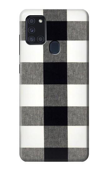 Printed Black and White Buffalo Check Pattern Samsung Galaxy A21s Case