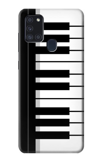 Printed Black and White Piano Keyboard Samsung Galaxy A21s Case