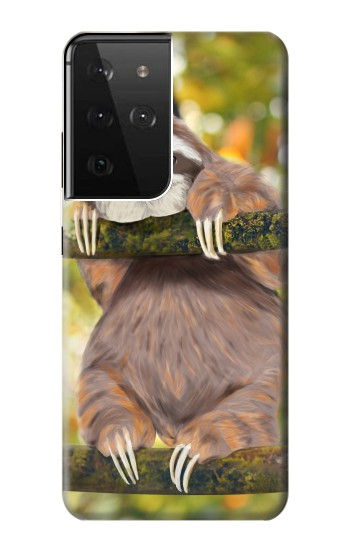 Printed Cute Baby Sloth Paint Samsung Galaxy S21 Ultra 5G Case