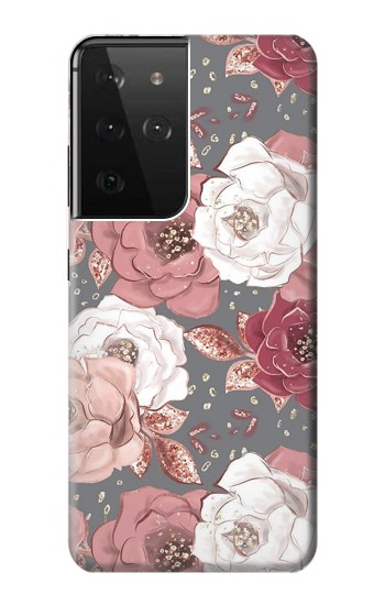 Printed Rose Floral Pattern Samsung Galaxy S21 Ultra 5G Case
