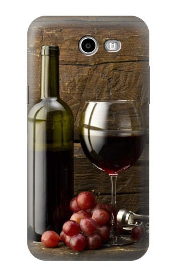 Printed Grapes Bottle and Glass of Red Wine Samsung Galaxy J3 Emerge Case