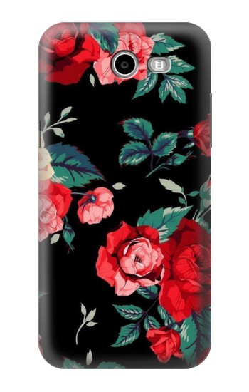 Printed Rose Floral Pattern Black Samsung Galaxy J3 Emerge Case