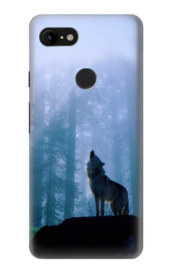 Printed Wolf Howling in Forest Google Pixel 3 XL Case