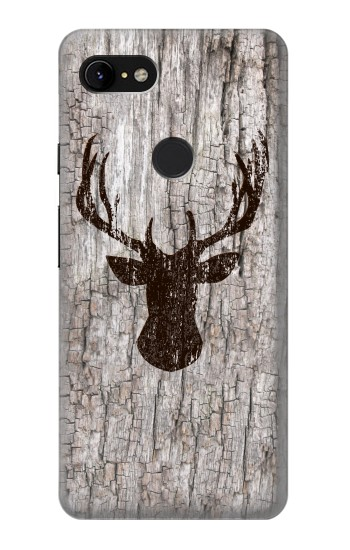 Printed Deer Head Old Wood Texture Google Pixel 3 XL Case