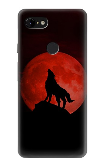 Printed Wolf Howling Red Moon Google Pixel 3 XL Case
