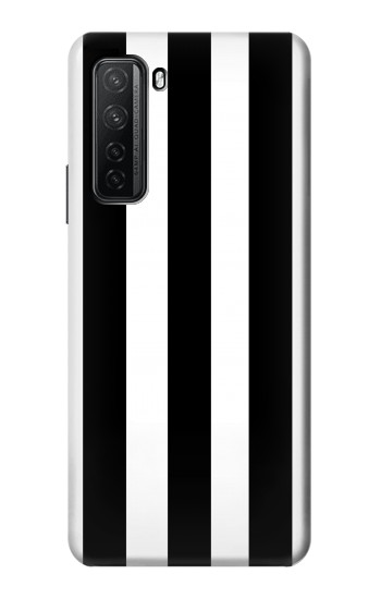Printed Black and White Vertical Stripes Huawei P40 lite 5G Case