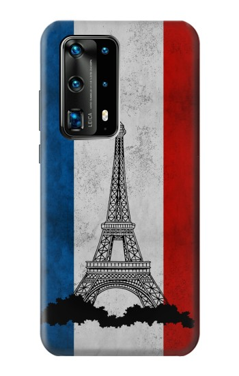 Printed Vintage France Flag Eiffel Tower Huawei P40 Pro+ Case