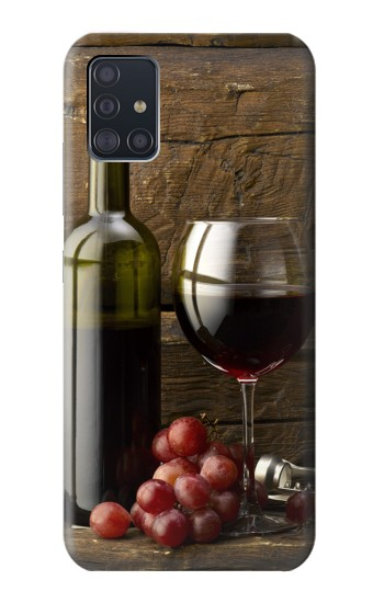 Printed Grapes Bottle and Glass of Red Wine Samsung Galaxy A51 5G Case