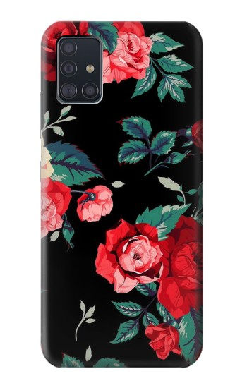 Printed Rose Floral Pattern Black Samsung Galaxy A51 5G Case