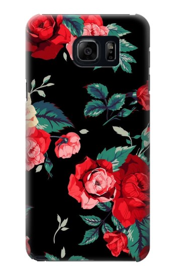Printed Rose Floral Pattern Black Samsung Galaxy S6 edge plus Case