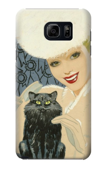 Printed Beautiful Lady With Black Cat Samsung Galaxy S6 edge plus Case