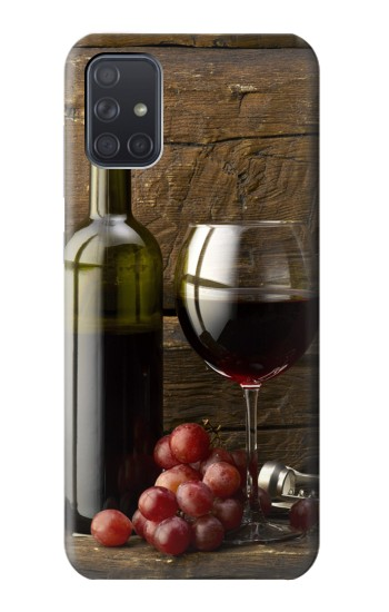 Printed Grapes Bottle and Glass of Red Wine Samsung Galaxy A71 5G Case