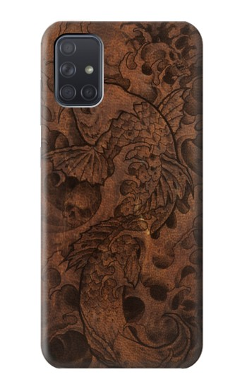 Printed Fish Tattoo Leather Graphic Print Samsung Galaxy A71 5G Case