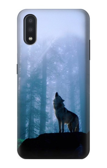 Printed Wolf Howling in Forest Samsung Galaxy A01 Case