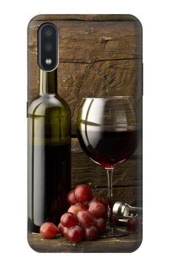 Printed Grapes Bottle and Glass of Red Wine Samsung Galaxy A01 Case