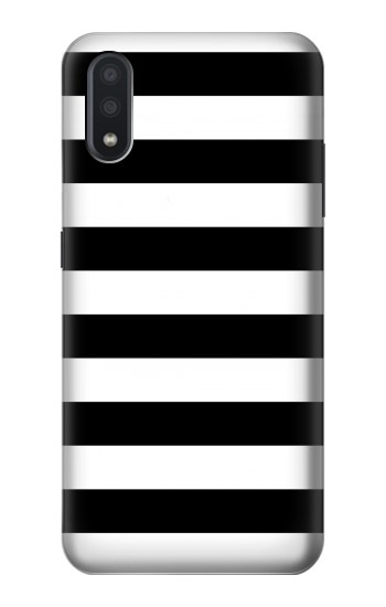 Printed Black and White Striped Samsung Galaxy A01 Case