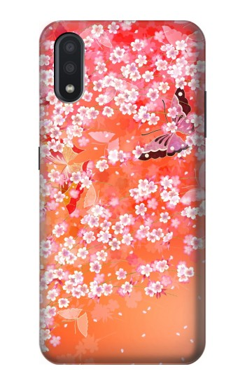 Printed Japanese Style Flower Pattern Samsung Galaxy A01 Case