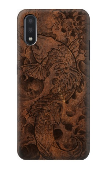 Printed Fish Tattoo Leather Graphic Print Samsung Galaxy A01 Case
