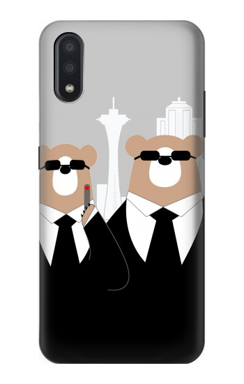 Printed Bear in Black Suit Samsung Galaxy A01 Case