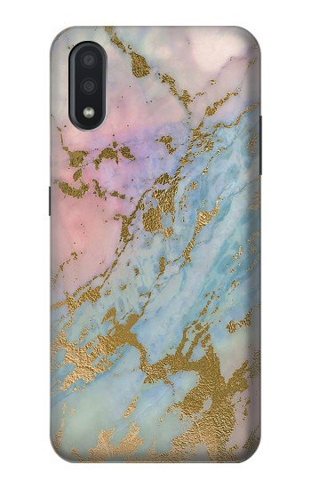 Printed Rose Gold Blue Pastel Marble Graphic Printed Samsung Galaxy A01 Case
