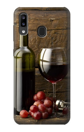 Printed Grapes Bottle and Glass of Red Wine Samsung Galaxy A20, Galaxy A30 Case