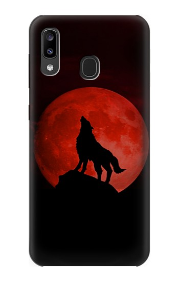 Printed Wolf Howling Red Moon Samsung Galaxy A20, Galaxy A30 Case