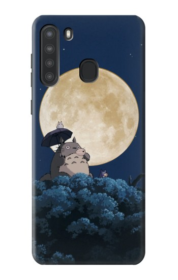 Printed Totoro Ocarina Moon Night Samsung Galaxy A21 Case