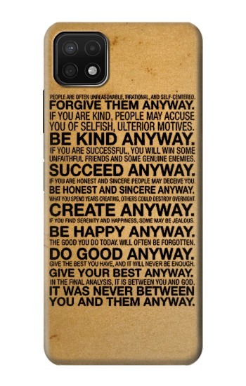 Printed Mother Teresa Anyway Quotes Samsung Galaxy A22 5G Case