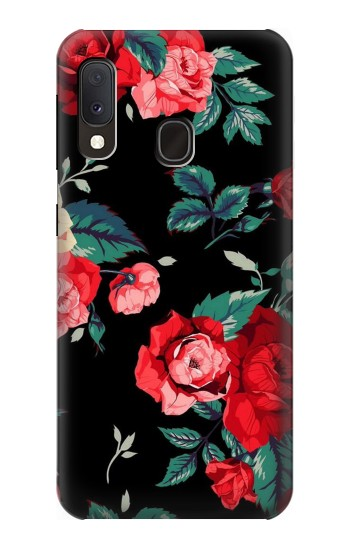 Printed Rose Floral Pattern Black Samsung Galaxy A20e Case