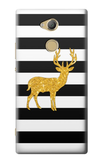 Printed Black and White Striped Deer Gold Sparkles Sony Xperia XA2 Ultra Case