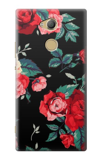 Printed Rose Floral Pattern Black Sony Xperia XA2 Ultra Case