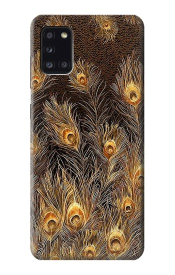 Printed Gold Peacock Feather Samsung Galaxy A31 Case