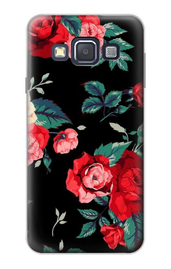 Printed Rose Floral Pattern Black Samsung Galaxy A3, A3 Duos Case