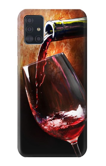 Printed Red Wine Bottle And Glass Samsung Galaxy A51 Case