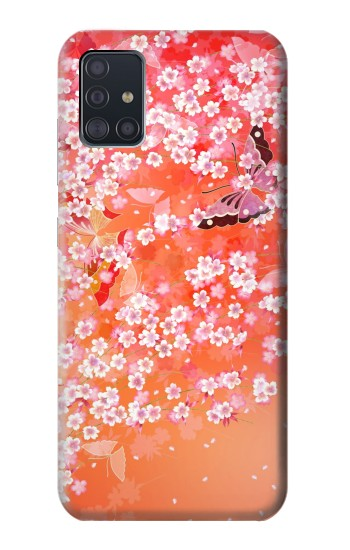Printed Japanese Style Flower Pattern Samsung Galaxy A51 Case