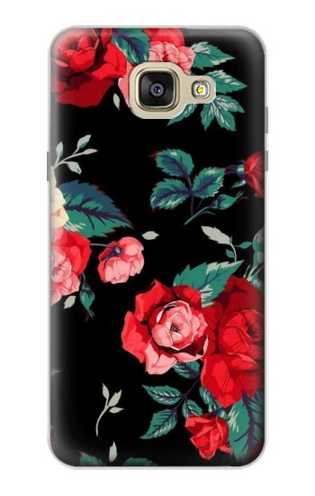Printed Rose Floral Pattern Black Samsung Galaxy A5 (2016) Case