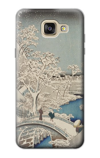 Printed Utagawa Hiroshige The Drum Bridge at Yuhi Hill in Meguro Samsung Galaxy A5 (2016) Case